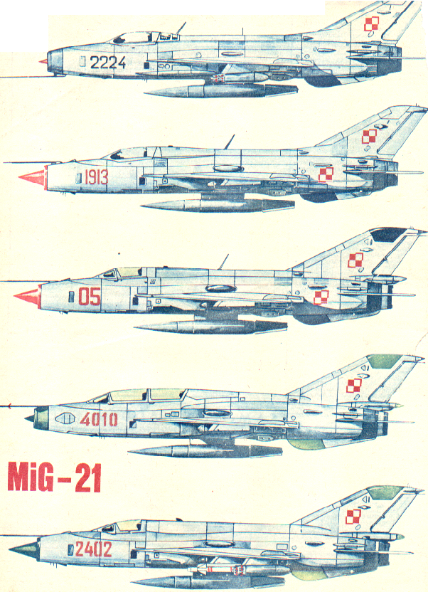 MiG-21 versions used in Poland in 1972. MiG-21 F-13 / PF / PFM / US / M. Photo of LAC
