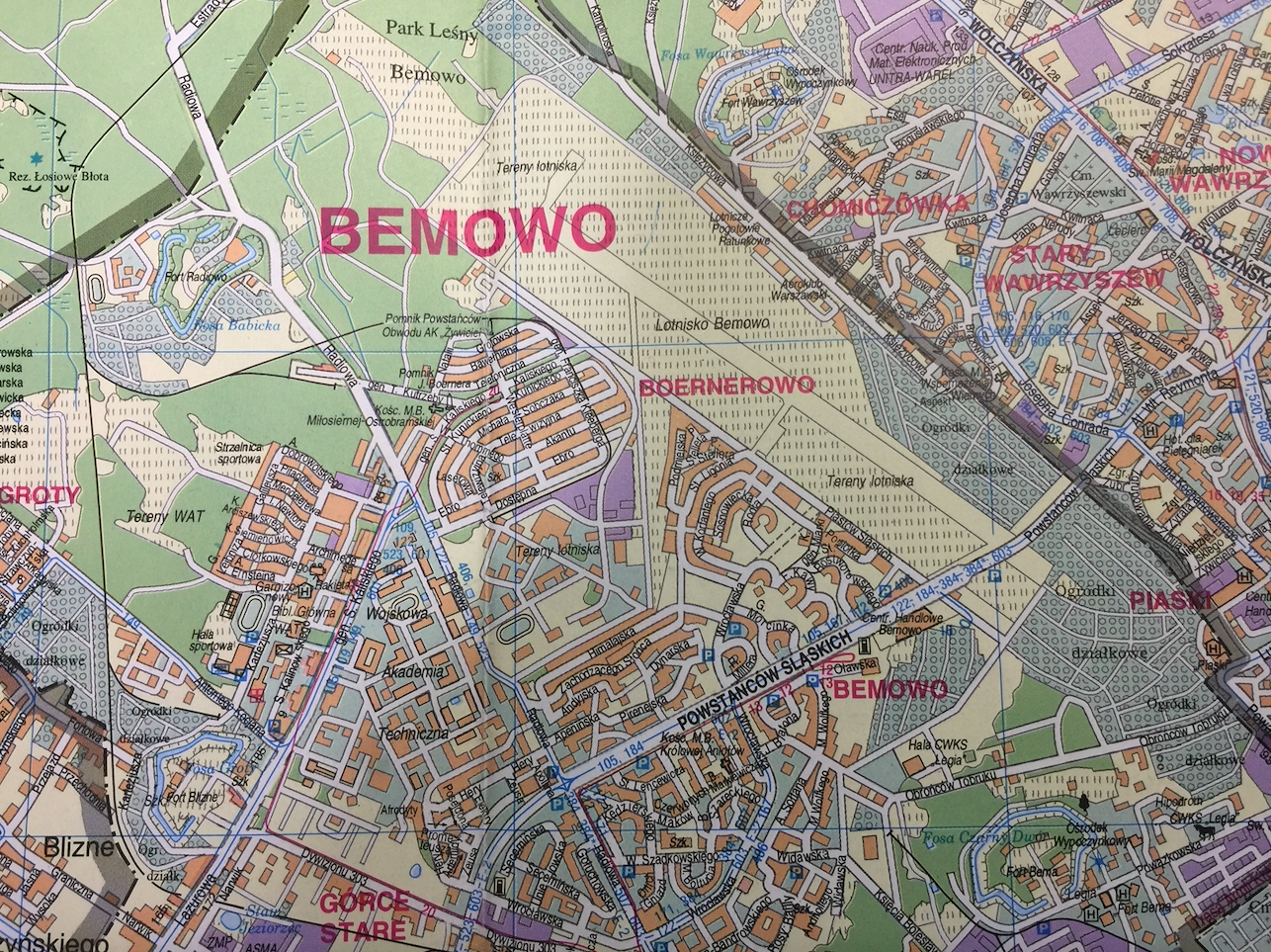 Bemowo airport on the map. 1998 year. Photo of LAC