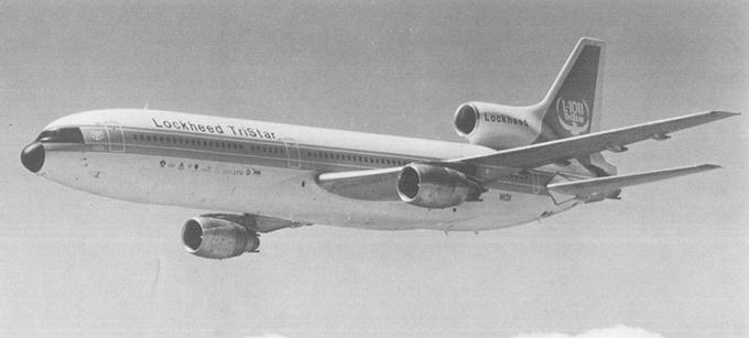 Prototyp L-1011 w locie. 1970 rok. Zdjęcie Lockheed