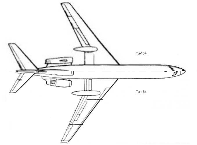 Porównanie sylwetek Tu-134 i Tu-154.Zdjęcie LAC