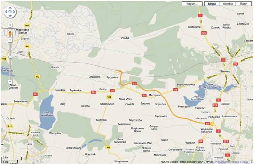 Lotnisko Mierzęcice Pyrzowice na mapie Polski. 2011 rok. Zdjęcie GoogleMaps
