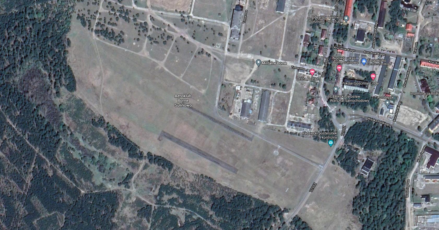 Borne Sulinowo airport. 2021. Satellite image