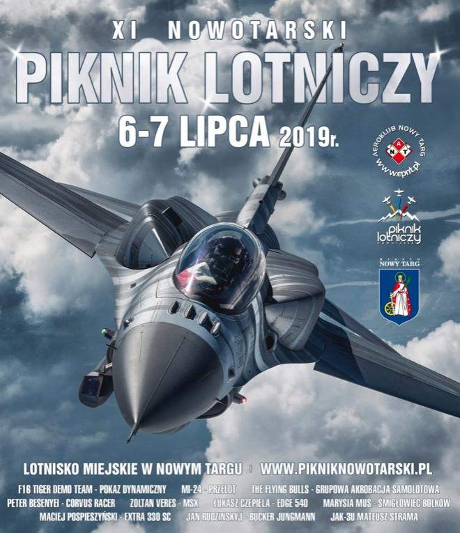 Plakat XI Nowotarskiego Pikniku Lotniczego. 2019 rok.