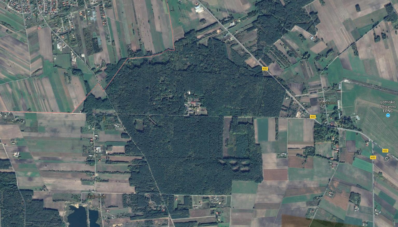 Kompleks leśny koło Nasielska gdzie stacjonował6. Dywizjon Rakietowy Obrony Powietrznej Kraju. 2017r. Zdjęcie Google