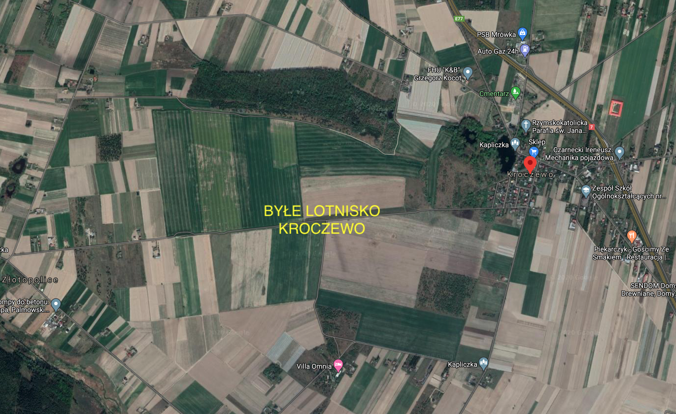 Former Kroczewo airport, satellite view. 2020 year. Photo of LAC