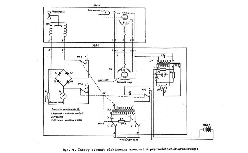 """Schemat elektryczny rysunek z """"Anemometr prędkościowo-kierunkowy M-47"""""""