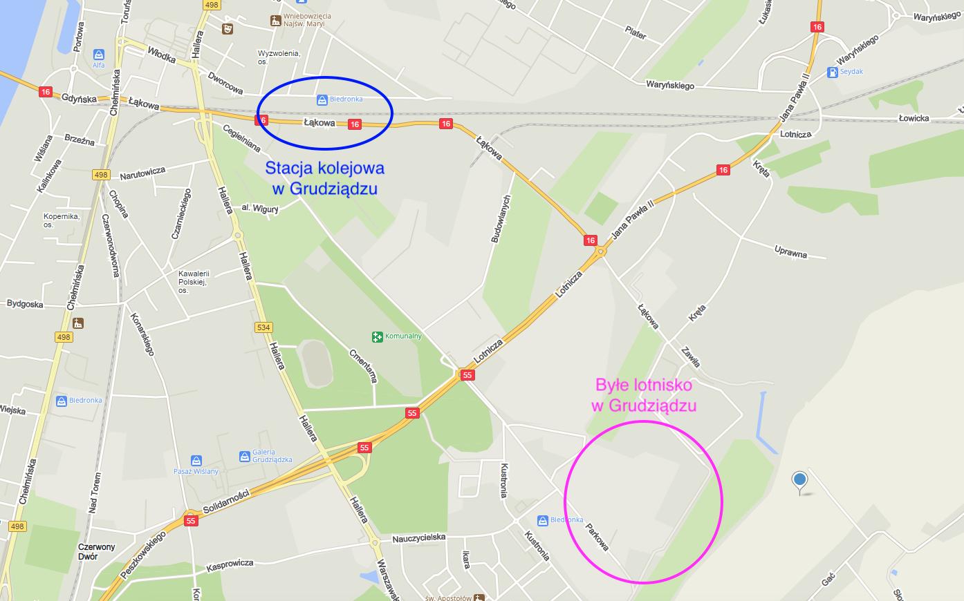 Stacja PKP w Grudziądzu i byłe lotnisko. 2021 rok. Praca Karol Placha Hetman