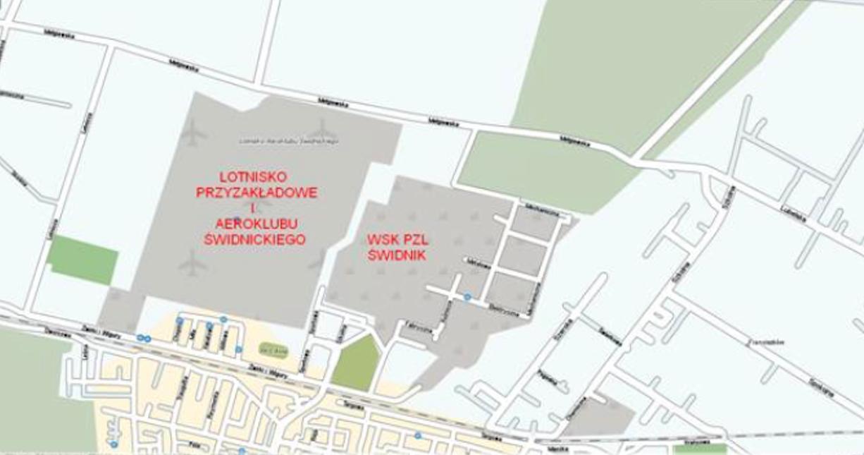 Plan Zakładu WSK PZL Świdnik z przyzakładowym lotniskiem. Jeszcze przed budową lotniska komercyjnego. 2008 rok.