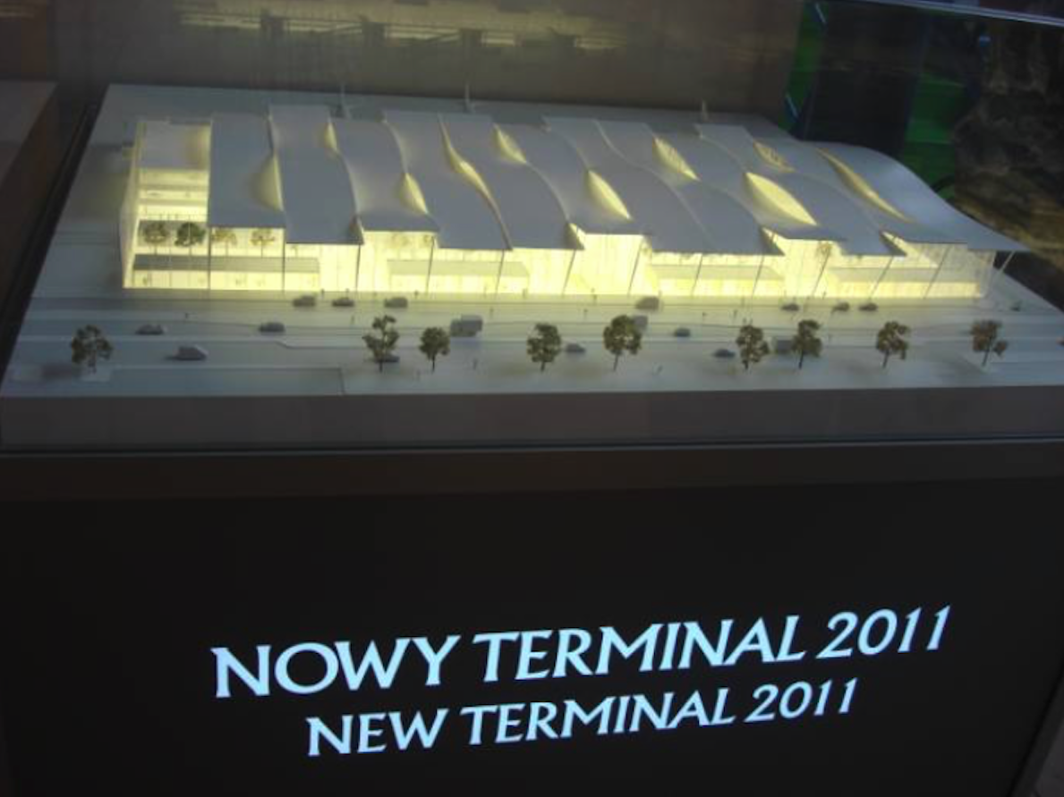 Mockup of the new terminal demonstrated in the old terminal. 2010 year. Photo by Karol Placha Hetman