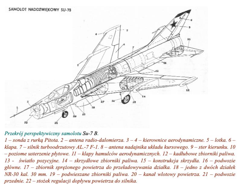 Przekrój perspektywiczny samolotu Su-7 B. 1970 rok. Zdjęcie LAC