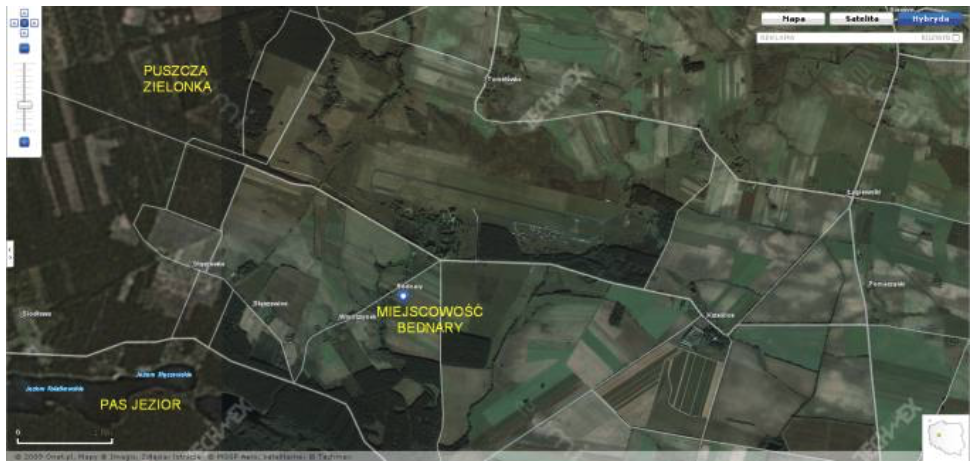 Bednary airport in a satellite view. 2009 year. Photo of LAC