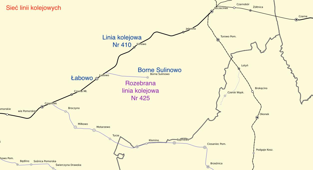 Railway line to Borne Sulinowo. 2013 year. The work by Karol Placha Hetman