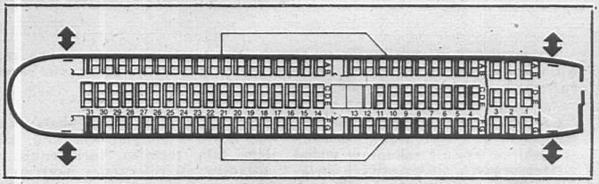 Układ kabiny w Polskim B-767-200. 1988r.