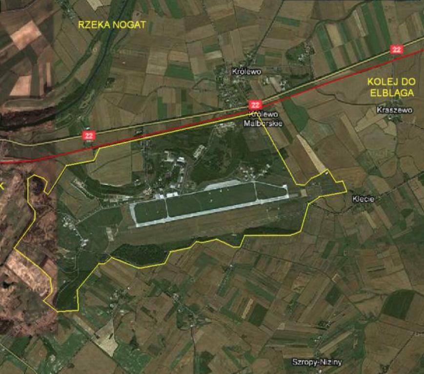 Lotnisko Malbork widok z satelity. 2010 rok. Zdjęcie LAC