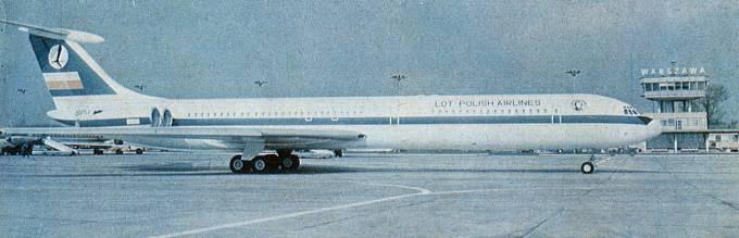 Ił-62 SP-LAC Okęcie. 1975r.