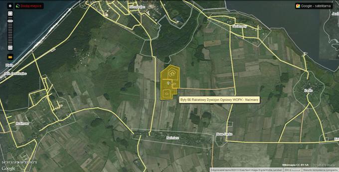 Lokalizacja byłego 66 Dywizjonu Rakietowego Obrony Powietrznej. 2013r. Zdjęcie Wikimapia