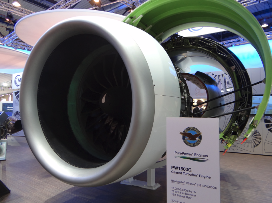 PW 1500 engine for the Bombardier CS-100/300 aircraft. 2014 year. Photo by Karol Placha Hetman