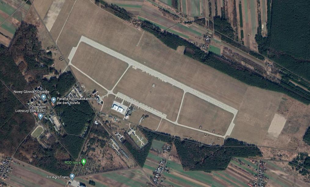 Tomaszów Mazowiecki airport. 2020 year. Photo of Google