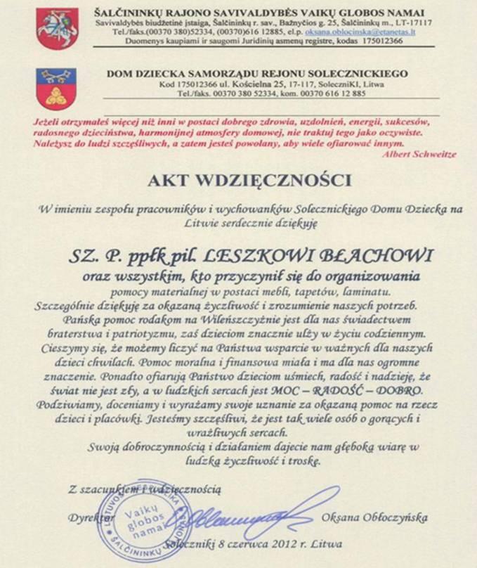 Podziękowanie pracowników oraz wychowanków Domu Dziecka w Solecznikach, które otrzymali żołnierze PKW ORLIK 4.