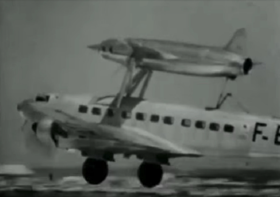 Leduc 010 plane on the back of the host plane. 1949. Photo of LAC