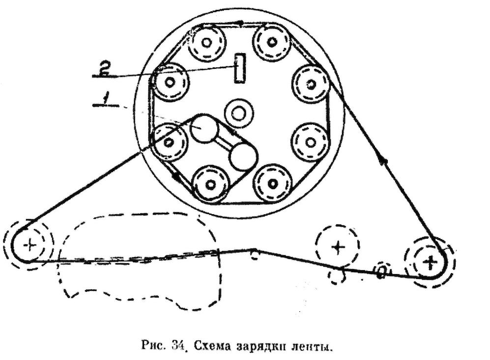 Magnetofon M-64 schemat ułożenia taśmy w kasecie. Rysunek z instrukcji