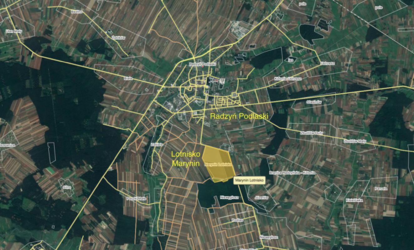 Radzyń Podlaski airport. 2018 year. Satellite image