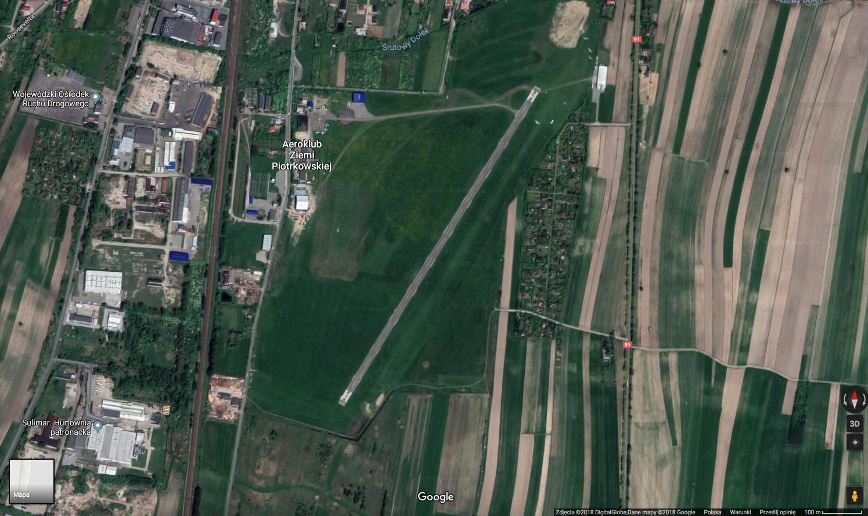 Lotnisko Piotrków Trybunalski. 2018 rok. Zdjęcie Google