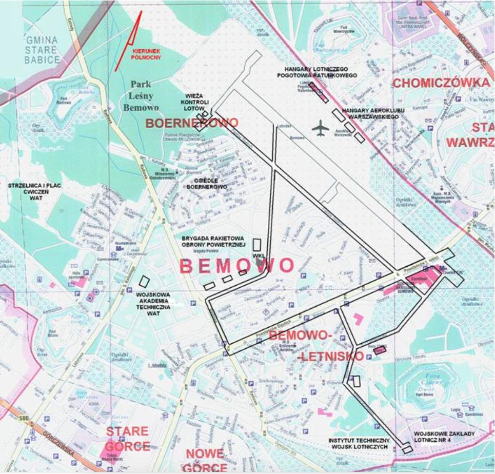 Lotnisko Bemowo w latach swojej świetności, około 1960 roku, na planie Miasta z 2008 roku. Naniesione obie DS, sieć DK i wszystkie hangary. Zdjęcie LAC