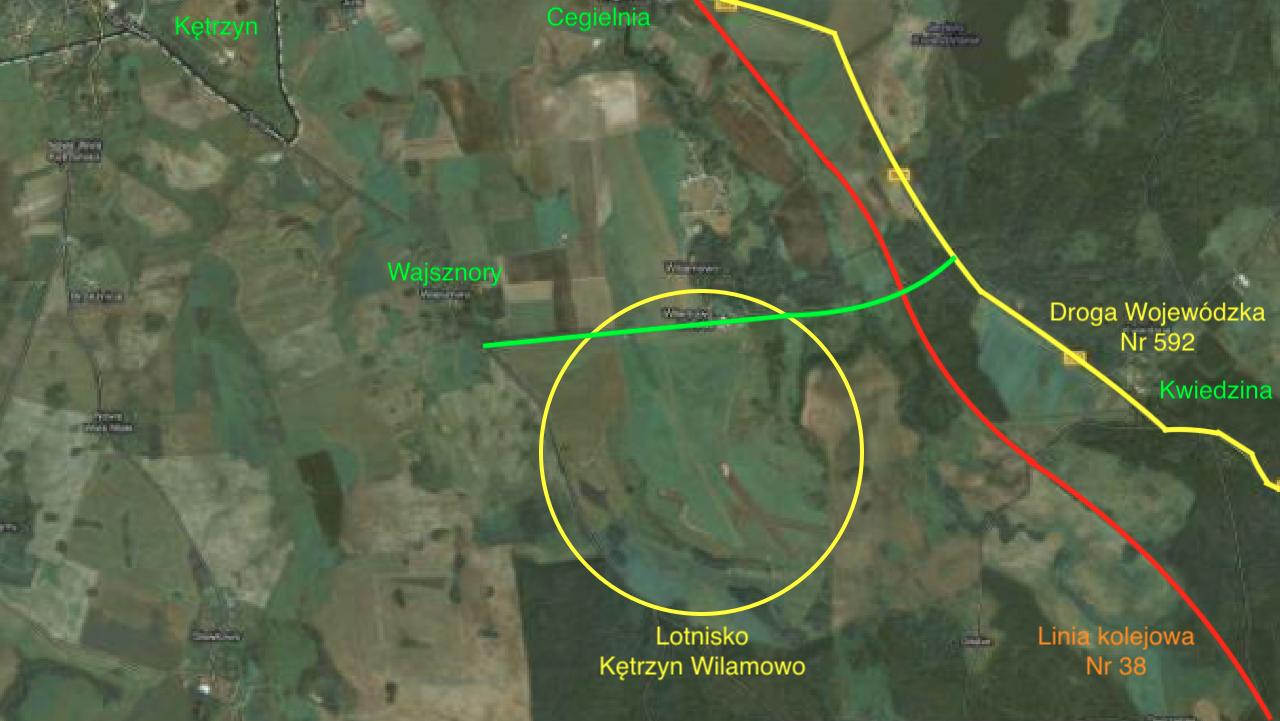 Lotnisko Kętrzyn-Wilamowo na mapie Polski. 2012 rok. Praca Karol Placha Hetman