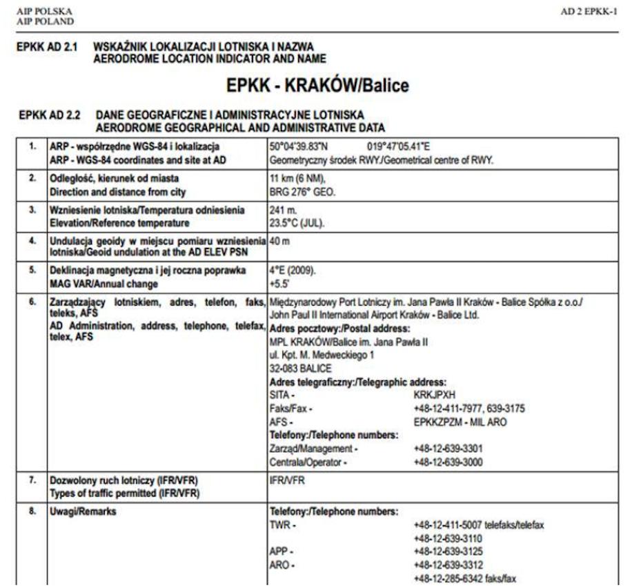 Fragment dokumentu EPKK Kraków-Balice. Już w pierwszym punkcie podane są dane ARP. 2012 rok. Zdjęcie Karol Placha Hetman