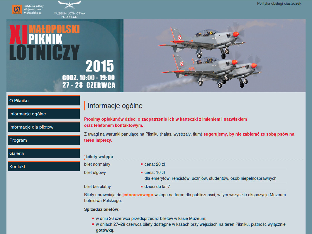 Oficjalna strona IX Małopolskiego Pikniku Lotniczego.
