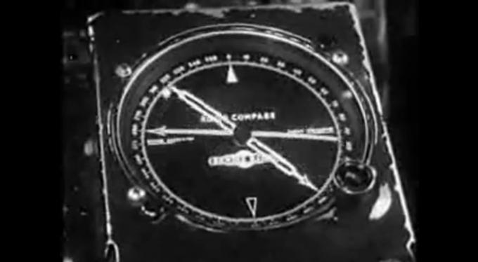 Wskaźnik LFB na pokładzie Lockheed Constellation tuż po radiolatarni.