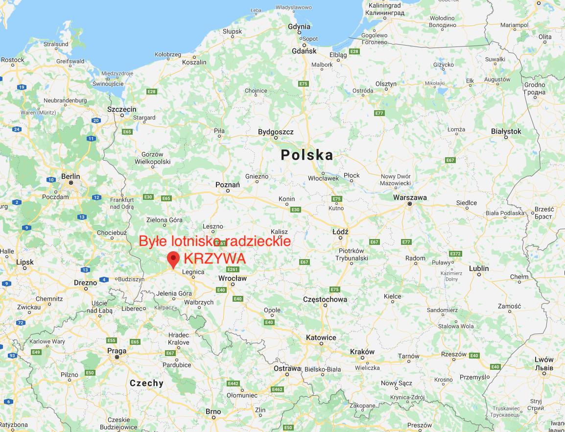 Lotnisko Krzywa na mapie Polski. 2010 rok. Zdjęcie LAC
