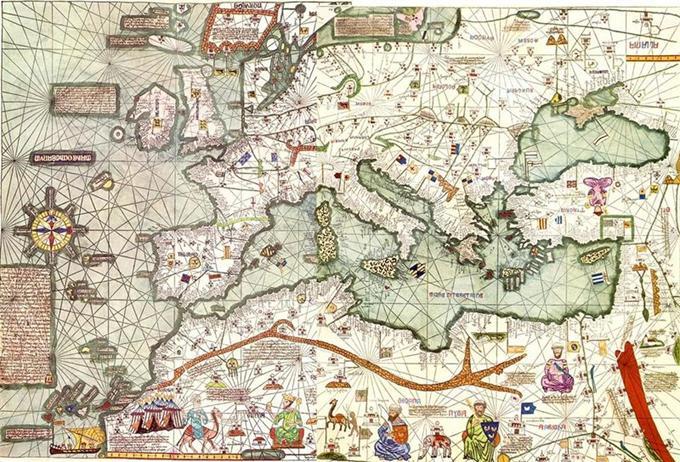 Fragment Atlasu Katalońskiego z 1375r. Jest to przykład mapy kompasowej. Zdjęcie z Wikipedii.