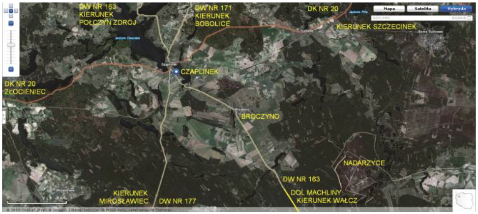 Czaplinek Broczyno airport, satellite view. 2009 year. Photo of LAC