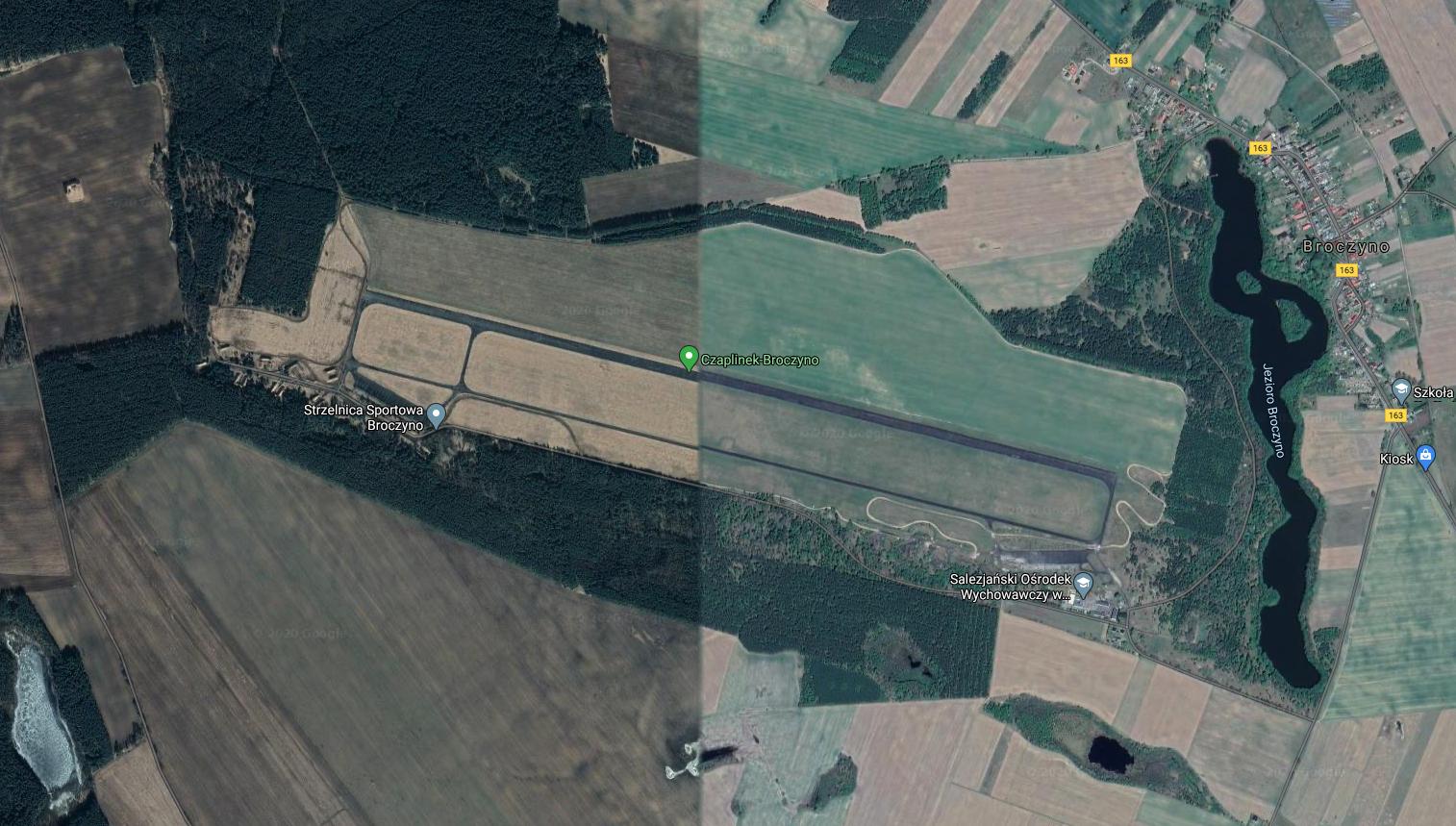 Czaplinek Broczyno airport, satellite view. 2018 year. Photo of LAC