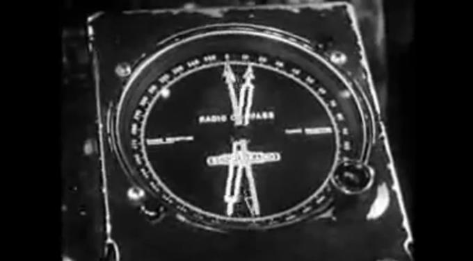Wskaźnik LFB na pokładzie Lockheed Constellation przed radiolatarnią.