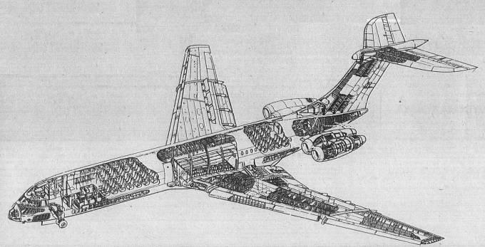 Vickers VC-10 rysunek 1970r.