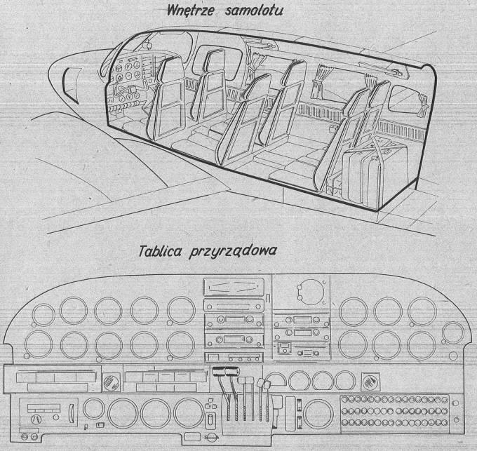 M-20 Mewa. Kabina z pierwotnym ustawieniem foteli i tablica przyrządów. 1980r.