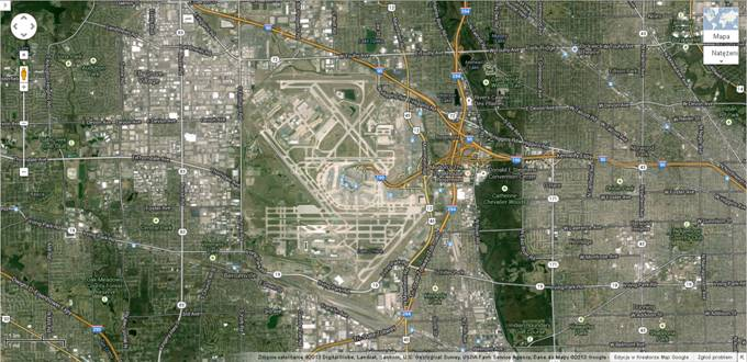 Ogólny widok lotniska O'Hare 2013r. Zdjęcie Map Google