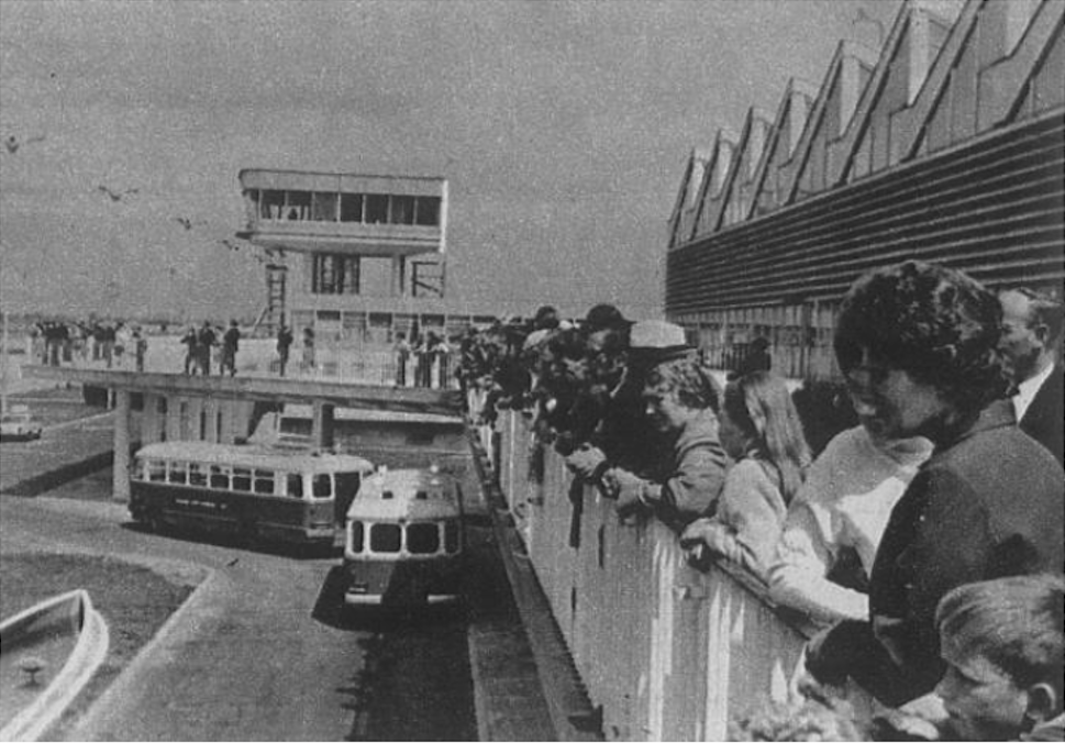 MDL Okęcie. The station building, tower and the famous terrace. Polish San buses, which were used to transport passengers to planes. 1970 year. Photo of LAC