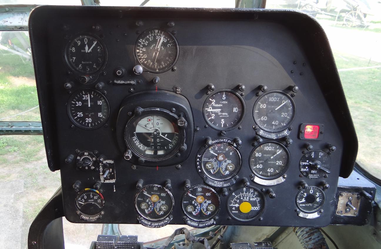 Kokpit śmigłowce Mi-8 T. Prawy pulpit. 2018 rok. Zdjęcie Karol Placha Hetman