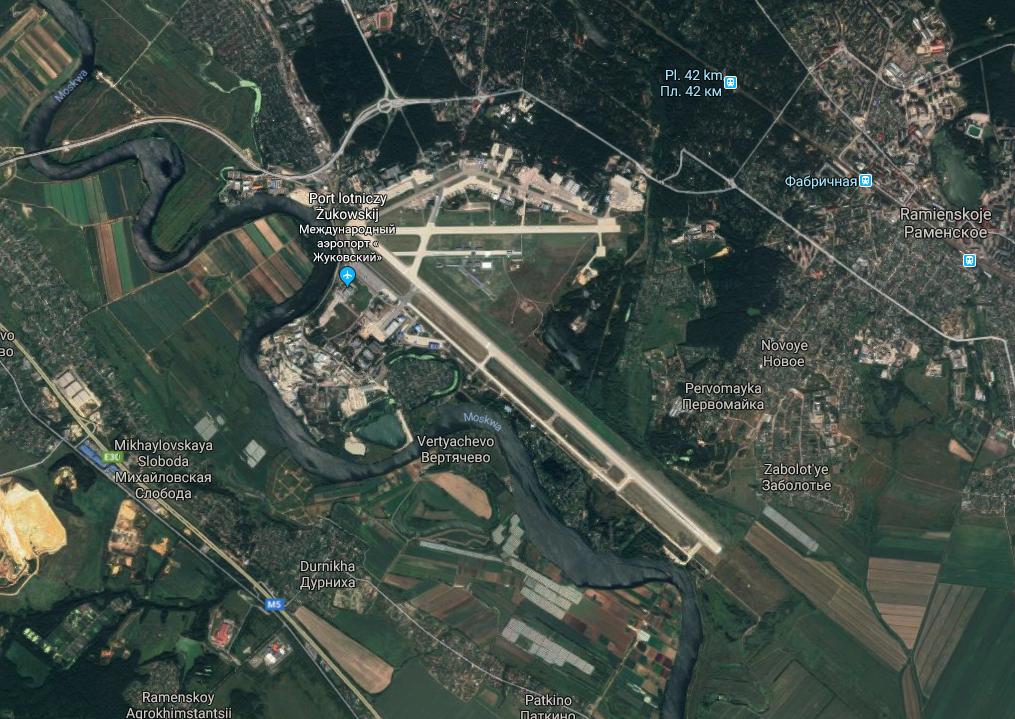 Lotnisko Żukowski. 2017 rok. Zdjęcie Google