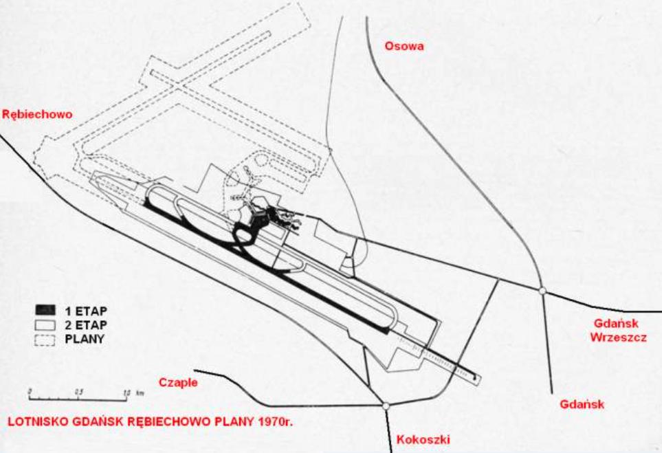 Ambitne plany rozbudowy Lotniska Rębiechowo. 1970 rok. Zdjęcie LAC
