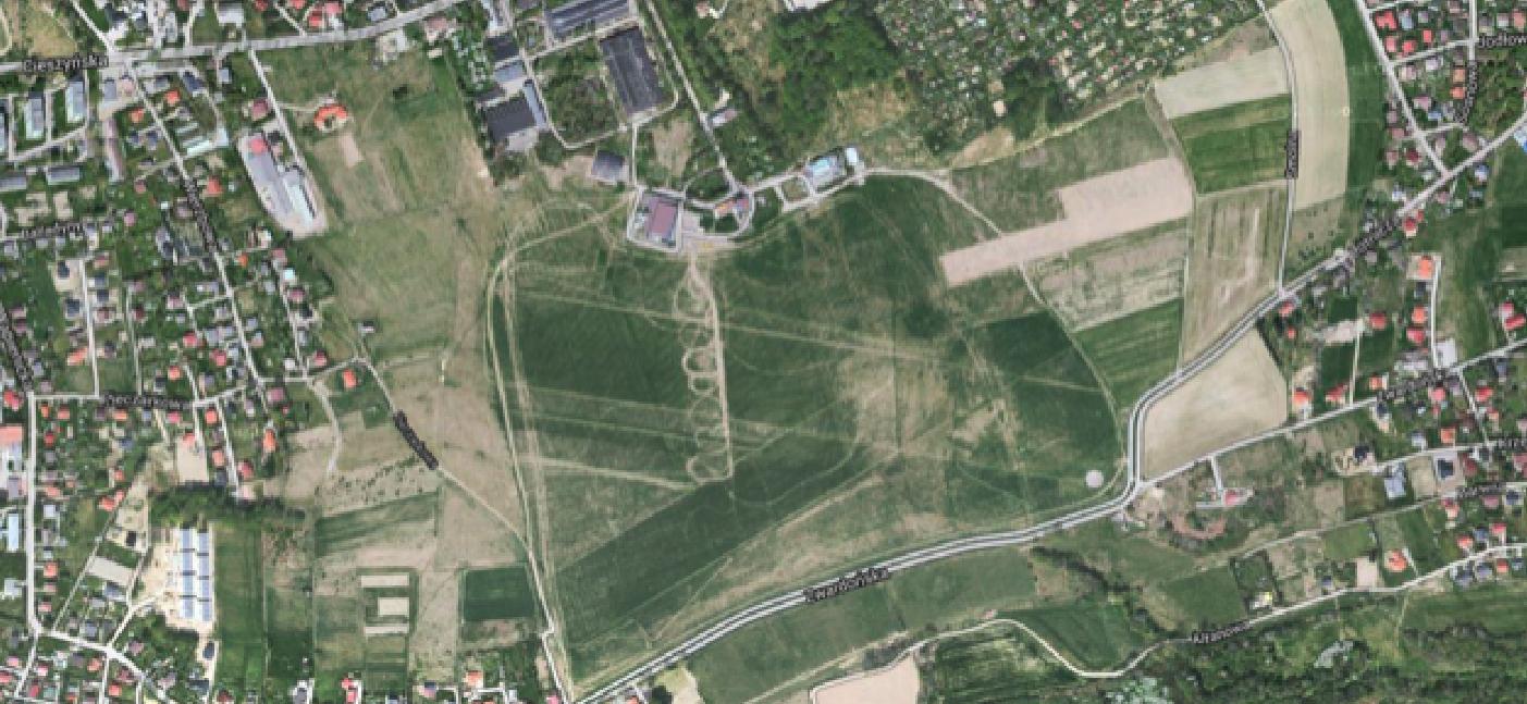 Bielsko-Biała airport, Aleksandrowice. 2014 year. Satellite image