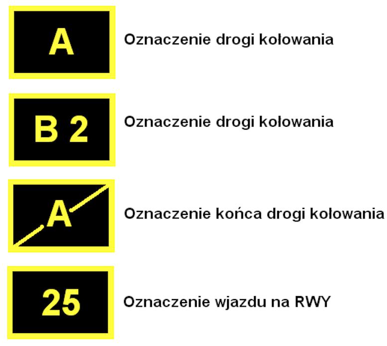 Przykładowe znaki pionowe na lotnisku. 2009 rok. Praca Karol Placha Hetman