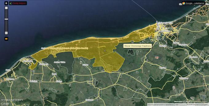 Obszar chronionego krajobrazu. Większość tego terenu to jest Centralny Poligon Sił Powietrznych. 2013r. Zdjęcie Wilimapia