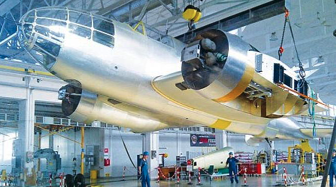 PZL Mielec-Sikorsky. Construction of a replica in the hall where PZL-37 B aircraft were built, in 1939. Photo 2012 year.