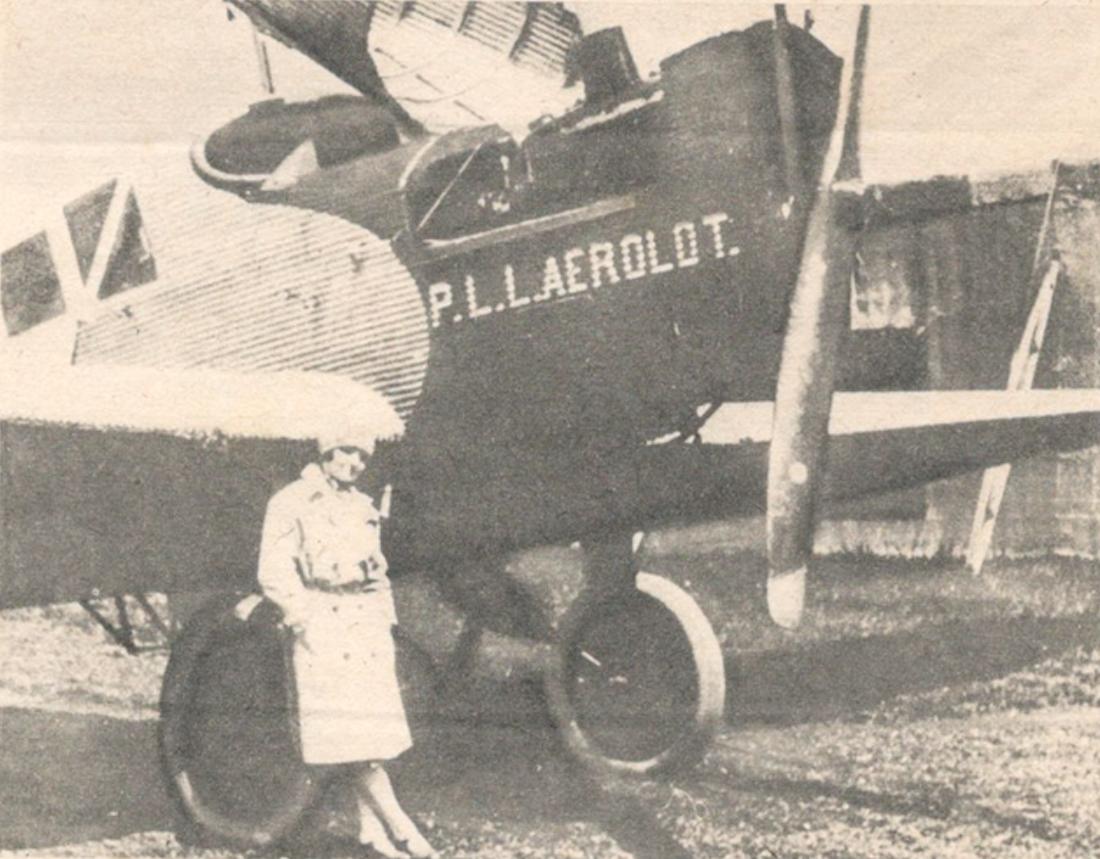 Zdjęcie reklamowe AEROLOT z samolotem Junkers F-13. 1926 rok. Zdjęcie Aerolot