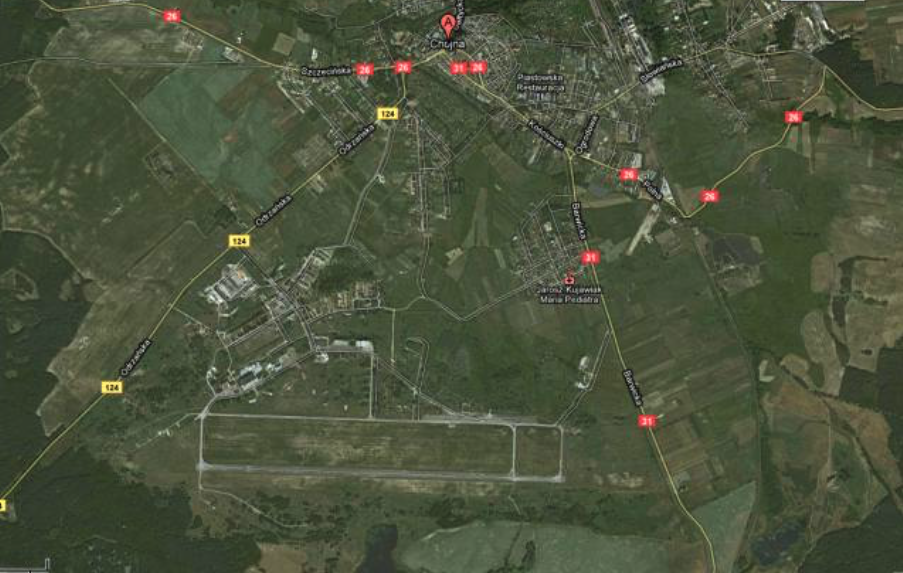 Chojna airport view from the satellite. 2009 year. Photo of LAC